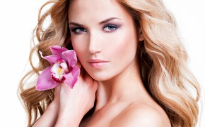 Picture flower, look, close-up, face, portrait, hands, makeup, hairstyle, blonde, white background, beauty, Orchid