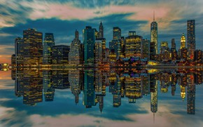 Picture lights, reflection, home, USA, New York