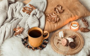 Picture autumn, leaves, wool, autumn, leaves, sweater, coffee cup, macaroons, a Cup of coffee, macaroon