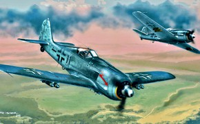Wallpaper Germany, attack, Air force, Fw 190, Focke -Wulf, bombs, Fw.190F-8, German air force, Battle squadron ...
