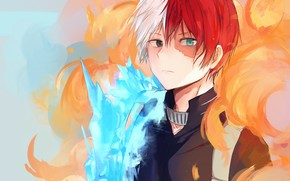 Picture fire, ice, guy, fire and ice, My Hero Academia, Boku No Hero Academy, Todoroki Shoto, …