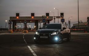 Picture road, machine, bridge, lexus, dark, Lexus, the barrier, gs350, travel, dark, lexusgs350