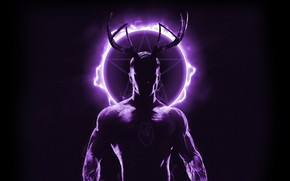 Picture light, silhouette, horns, male