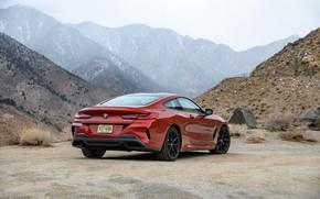 Picture mountains, coupe, BMW, 2018, 8-Series, 2019, dark orange, M850i xDrive, Eight, G15