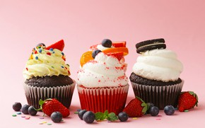 Picture berries, chocolate, blueberries, strawberry, cream, marmalade, cupcakes