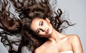 Picture face, pose, hair, makeup, curls, curls, Valua Vitaly