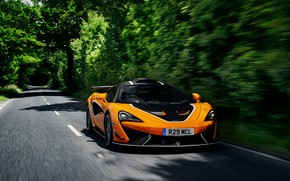 Picture road, vegetation, coupe, McLaren, 2020, V8 twin-turbo, 620R, 620 HP, 3.8 L.