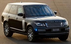 Picture machine, lights, black, Range Rover, black, side, wheel, Range Rover Sentinel