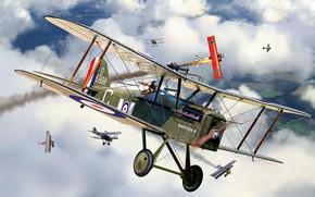 Picture fighter, Royal Aircraft Factory, Britsh S.E.5a, single biplane