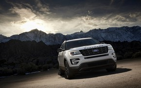 Picture white, mountains, Ford, Parking, Sport, SUV, Explorer, 2017, XLT