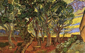 Picture trees, flowers, people, hospital, benches, Vincent van Gogh, The Garden of Saint-Paul, Hospital 5