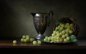 Picture style, grapes, pitcher, still life, basket, bunches