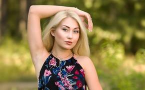 Picture look, girl, pose, model, dress, blonde, lips, beauty, bokeh, Andrew Filonenko
