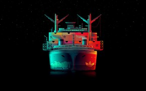 Picture Minimalism, Night, Vector, Stars, Style, The ship, Adidas, Art, Adidas, A container ship, Vessel, Container …