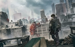 Picture The city, City, Soldiers, Fighter, Battlefield, Fiction, Sniper, Sniper, Soldier, Characters, Science Fiction, Rooftop, operator, …