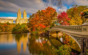 Picture autumn, bridge, river, New York, beautiful, New York