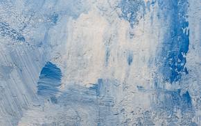 Picture winter, paint, paint, ice, texture, spatula, blue background, strokes, blue tones, winter background