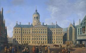 Picture oil, picture, canvas, the urban landscape, Gerrit Adriaenszoon Berckheyde, Gerrit Adriaenszoon Berckheyde, Town hall on …