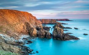 Picture sea, rocks, Wales, National Park Pembrokeshire coast