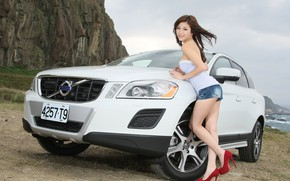 Picture auto, look, smile, Girls, Asian, beautiful girl, Volvo XC60, posing on the car