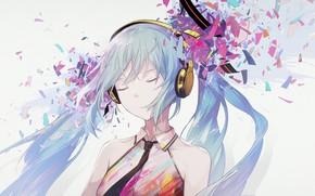 Picture fragments, Hatsune Miku, Vocaloid, Vocaloid, blue hair, Hatsune Miku