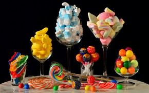 Picture table, food, glasses, candy, banks, black background, still life, pastry, a lot, different, composition, cuts