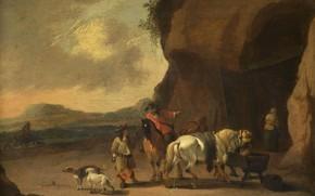 Picture landscape, oil, picture, 1719, Pieter Bout, Peter Baut, Roadside Parking