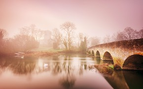 Picture bridge, fog, river