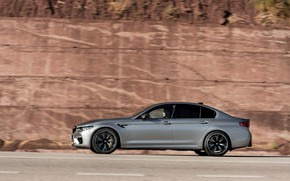 Picture rock, grey, wall, BMW, profile, sedan, 4x4, 2018, four-door, M5, V8, F90, M5 Competition