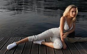 Picture girl, pose, river, sneakers, figure, beautiful, the bridge