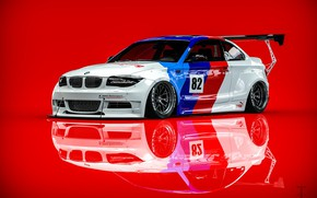Picture Auto, BMW, Machine, Rendering, Red background, BMW 1 Series, Transport & Vehicles, Clinched, November Tlibekov, …