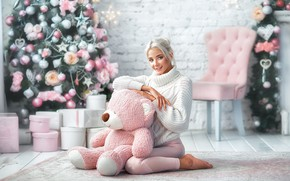 Picture look, girl, pose, smile, mood, bear, New year, tree, sweater, Teddy bear, Katerina Shiryaeva, Anastasia …