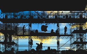 Picture logo, men, silhouette, work, Apple Inc.