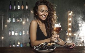 Picture girl, mood, beer, bar