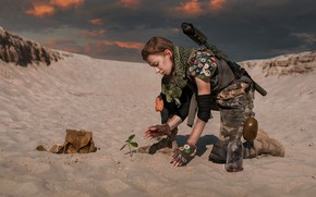 Picture girl, weapons, desert, Dima Begma, New life