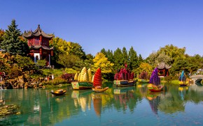 Picture nature, pond, Park, holiday, boats, Canada, Montreal, pagoda, festival, pavilion, Chinese garden