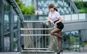 Picture look, pose, model, the building, skirt, portrait, makeup, figure, hairstyle, shoes, railings, blouse, tights, brown …