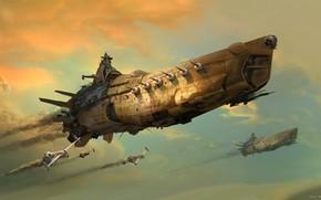 Picture The sky, Figure, Ship, The ship, Art, Fiction, battleship, Eddie Del Rio, by Eddie Del …