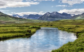 Picture mountains, river, valley, Iceland