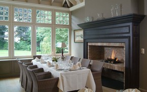 Picture room, interior, fireplace, dining room