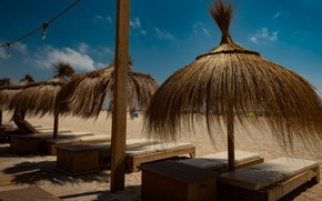 Picture sand, sea, beach, summer, the sky, comfort, blue, stay, shore, coast, posts, shadow, roof, straw, …