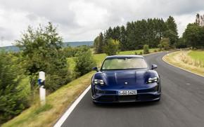 Picture road, Porsche, Turbo, 2020, Taycan