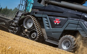 Picture Dust, Wheel, Ladder, 2018, Massey Ferguson, Grain, Harvester, Massey Ferguson Ideal 9T, Track