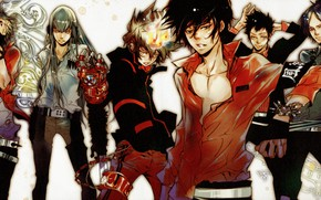 Picture flame, shirt, guys, strap, art, mafia, Sawada Tsunayoshi, Katekyo Hitman REBORN!, Akira Amano, Shark Superb, …