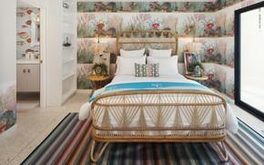 Picture design, comfort, room, Wallpaper, bed, design, bedroom, room, bed, lamps, bedroom, cozy