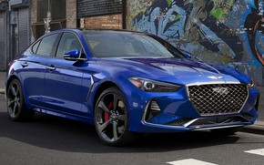Picture machine, asphalt, drives, front, side, blue, blue, Genesis, Genesis G70