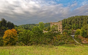 Wallpaper road, forest, the sky, clouds, trees, castle, Germany, the ruins, Castle Balduinstein