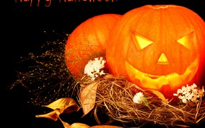 Picture leaves, photo, Halloween, pumpkin, straw