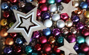 Picture winter, balls, holiday, balls, colored, star, Shine, Christmas, New year, a lot, Christmas decorations, Christmas …