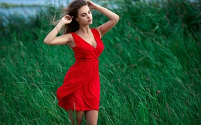 Picture chest, grass, water, pose, Girl, figure, dress, Sergey Gokk